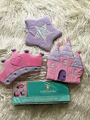 3 pc Nursery Art wall hangings Velour Crown Castle Star Princess bedroom GUC
