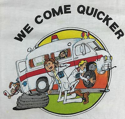 Vintage Mens L 70s Hanes We Come Quicker Paramedic White Innuendo NOS T-Shirt