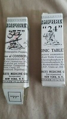 Humphreys' Homeopathic Preparation No. 24 & 77  lot of 2  full bottles medicine