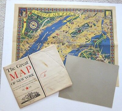 Rare Macy Map of New York + Original Envelope~1939~Russell Patterson~World's Fai