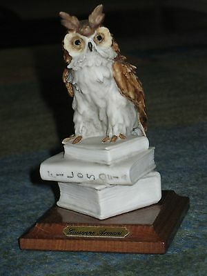Giuseppi Armani Figurine Great Horned Owl Bird perched on Philosophy Books Italy