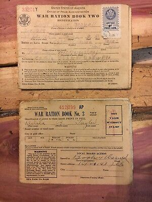 Two Vintage WWll War Ration Book/ 1 Book Full Of Rations