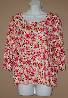 Womens Size 12 14 Large 3/4 Sleeve Fall Fashion Casual Cotton Floral Top Shirt