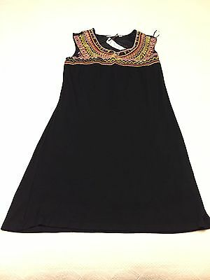 NEW Women Summer Casual Sleeveless Black Dress with embroidery Short Dress XS