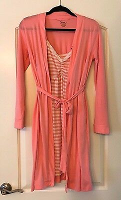 Bump in the Night Maternity Nursing Gown and Robe Set, Sz Small