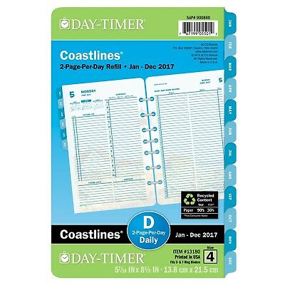 Day-Timer Daily Planner Refill 2017 Two Page Per Day Loose Leaf 5-7/16 x 8-1/...