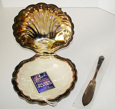 Vintage Sheffield Silver Plate Clam Shell Caviar Butter Serving Dish W/lid
