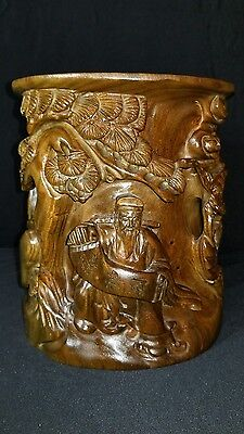 VINTAGE Asian Chinese Brush Pot With Figures And Birds HEAVY Carved Hard Wood