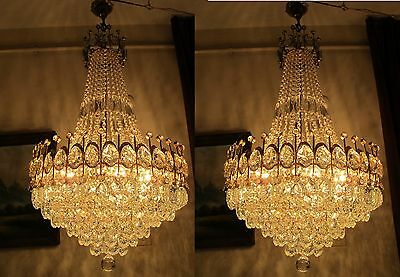 Antique RARE Large French Basket style BOHEMIA Crystal Chandelier Lamp 1940's
