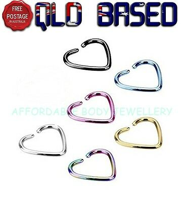 Heart Titanium IP Over 316L Stainless Steel Fake Non-Piercing Cartilage Clip on