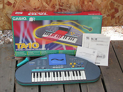 Vintage Casio Keyboard TA-10 with Stereo Cassette Player and Microphone and box