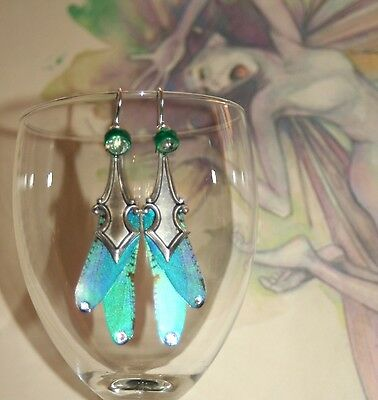 Fairy dragonfly wing crystal magical enchanted fae pixie artisan earrings