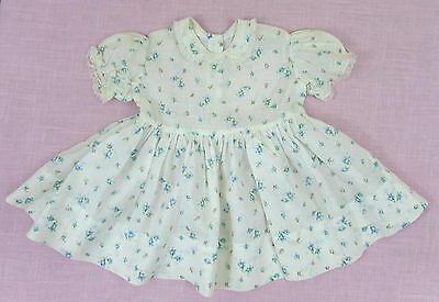 Vintage Baby Girls Dress - blue & pink rose print - 1950s - Pretty doll re-use
