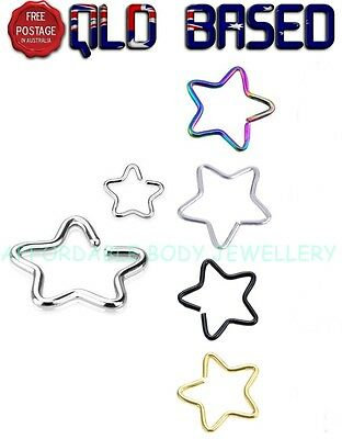 Star Titanium IP Over 316L Stainless Steel Fake Non-Piercing Cartilage Clip on