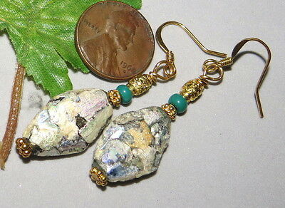 Ancient Roman Patina Beads Glass Earrings