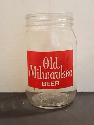 Vintage Advertising ~ Old Milwaukee Beer ~ Clear Glass/ Mason Jar Drinking Glass
