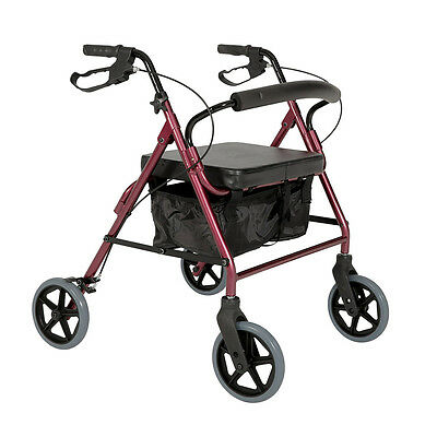 Cq Seat Walker Trekker Heavy Duty Aluminium Burgundy Handles Height Adjustable ,