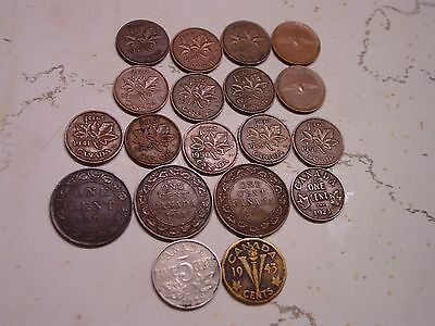 LOT CANADA 17 PENNY 1900 1911 1912 1921 to 1967 & 2 NICKEL 1928 1943