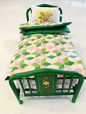 American Girl Doll Kit's Day Trundle Bed with bedding and bunny