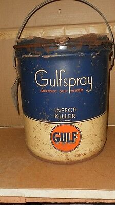 Vintage Gulf Gulfspray Insect Killer 5 Gallon Oil Can With Tag  All Metal Nice