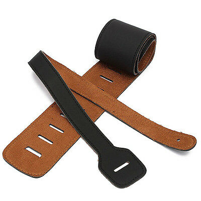 Vintage Extra Wide Soft PU Leather Guitar Strap with Buckle Black