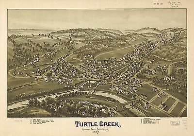 12x18 inch Reprint of American Cities Towns States Map Turtle Creek Pennsylvania