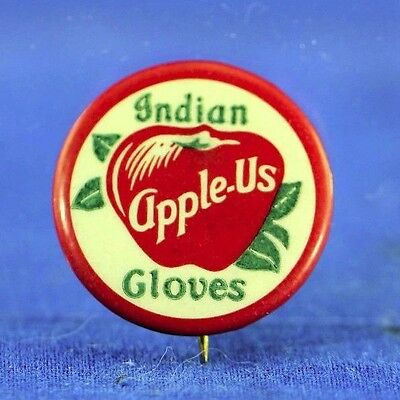 Antique Celluloid Pin Back For Indian Apple Us Indianapolis Gloves #2