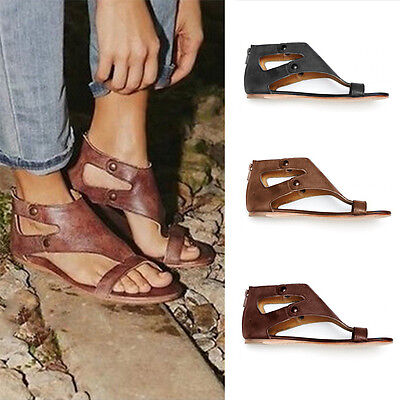 Womens Ladies Summer Sandals Gladiator Flip Flops Ankle Zip Flat Leather Shoes