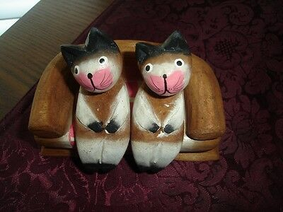 Hand Carved Bamboo Cats Sitting On Sofa Figurine