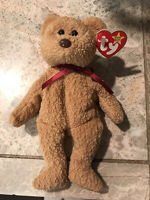 Rare Retired 1993 Ty Beanie Baby Curly The Bear With Multiple Tag Errors Mint