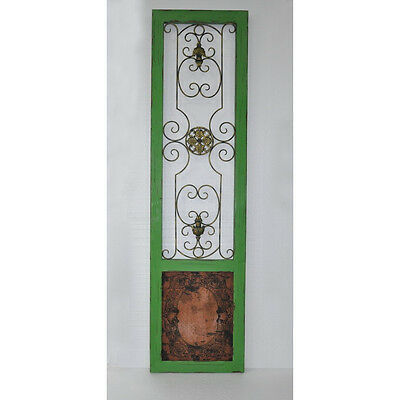 Antique Style Green Wood/Wire Scroll  Door Panel,18.5'' X 70.75''H