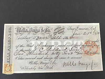 1870 Wells Fargo & Co Express San Francisco Gold Coin First Paid Draft