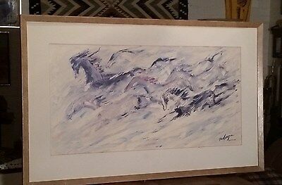 "Large Framed TED DEGRAZIA Print ""FREE AS THE WIND"" Horses Running 33X21"""