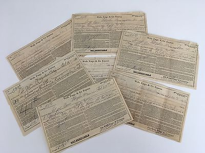 7 Original Wells Fargo & Co Express Shipping Receipts Early Hollywood Films