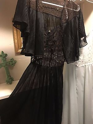 Vintage Blanche Full Accordian Sheer Pleated Nightown Peignoir & Lace Bedjacket