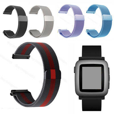 22mm Adjust Milanese Loop Band Magnetic Wrist Strap for Pebble Time Steel Watch
