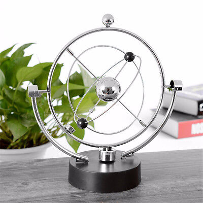 Silver Metal Cosmos Revolving Perpetual Motion Machine Battery Powered New