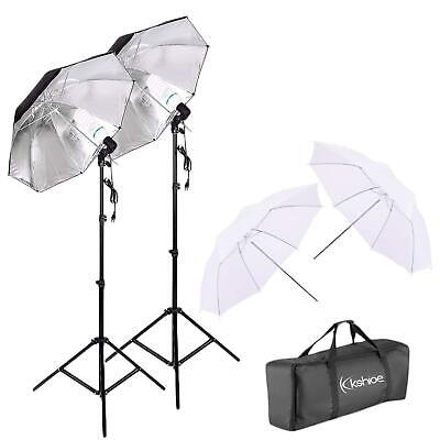 Photography Studio Bulb Lamp Umbrella Light Stand Set Continuous Lighting Kit