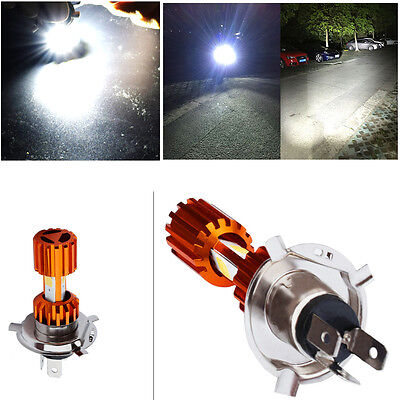 1x H4 3*COB LED Motorcycle Headlight Bulb High/Low Beam Fog Light 2000LM Scooter