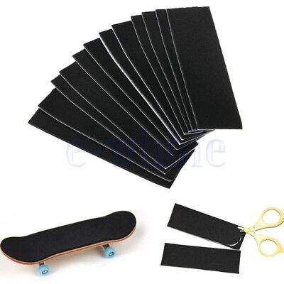 12 Pcs Wooden Fingerboard Deck Uncut Black Grip Tape Stickers 110mm x 35mm GL