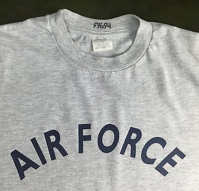 Vintage Mens M 80s Air Force Military Rocker Gray 50/50 Poly Cotton T-Shirt