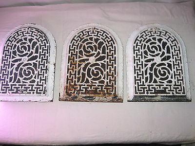 3 Matching Antique Victorian Cast Iron Dome/Arch Top Wall Register Greek Key
