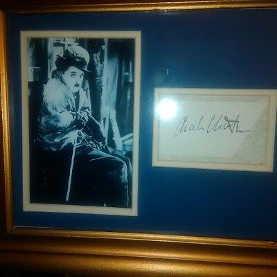 "Charlie Chaplin - original autograph and 5 x 7 photo ""The Tramp"""