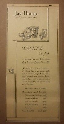 1928 Jay Thorpe Lalique Glass Ad with prices
