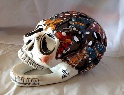 TALAVERA Ceramic Day of the dead BUTTERFLY skull, Hand Crafted