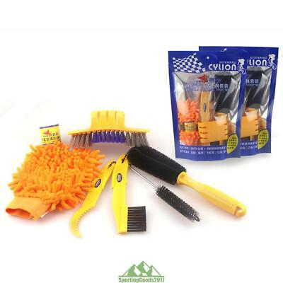 6Pcs/set Bicycle Bike Cleaing Tool kits Chain Cleaner+tire Brushes+Coral Gloves