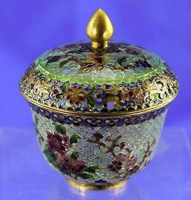 Vintage Chinese Champleve Cloisonne Covered Ginger Jar With Open Work Rim