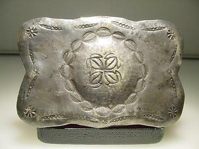 Vintage Hand Made Silver Hand Tooled Native American Indian Belt Buckle