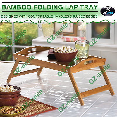 Wooden Bamboo Folding Tray BAMBOO FOLD UP LAP TRAY Tea Coffee Table Breakfast