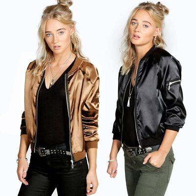 Fashion Women's Short Baseball Coat Bomber Jacket Long Sleeve Zipper Casual Tops